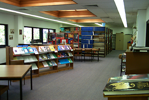 carpeted library interior
